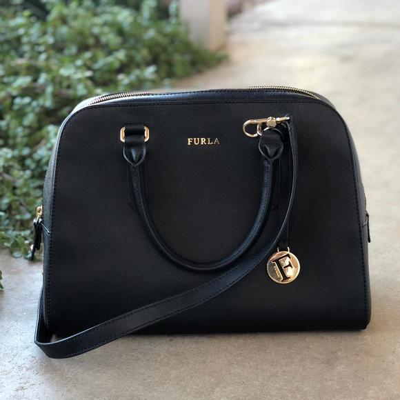 30acb03f62dd Furla Handbags - Furla Large Black Leather Bowler Bag Satchel